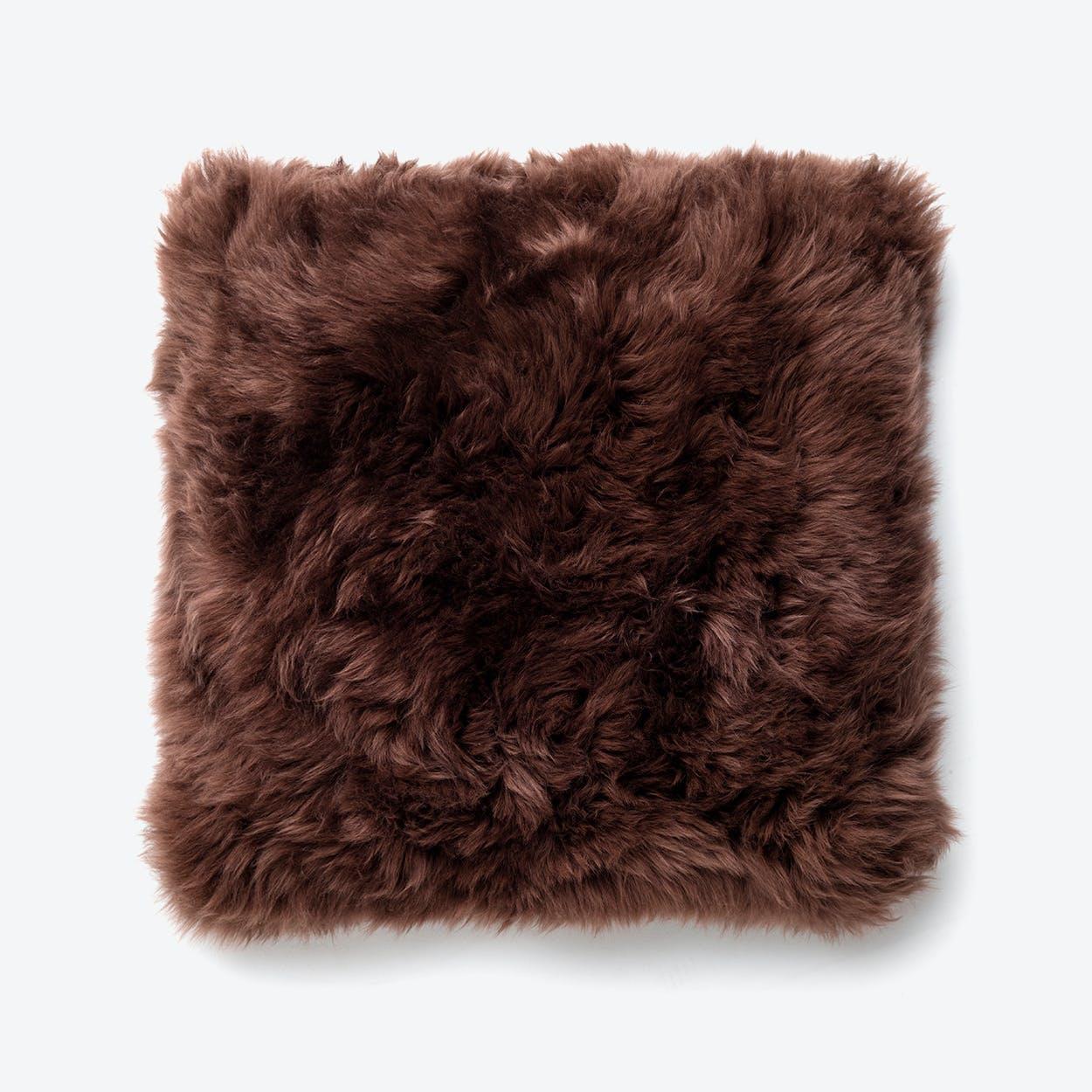 New Zealand Sheepskin Cushion in Brown