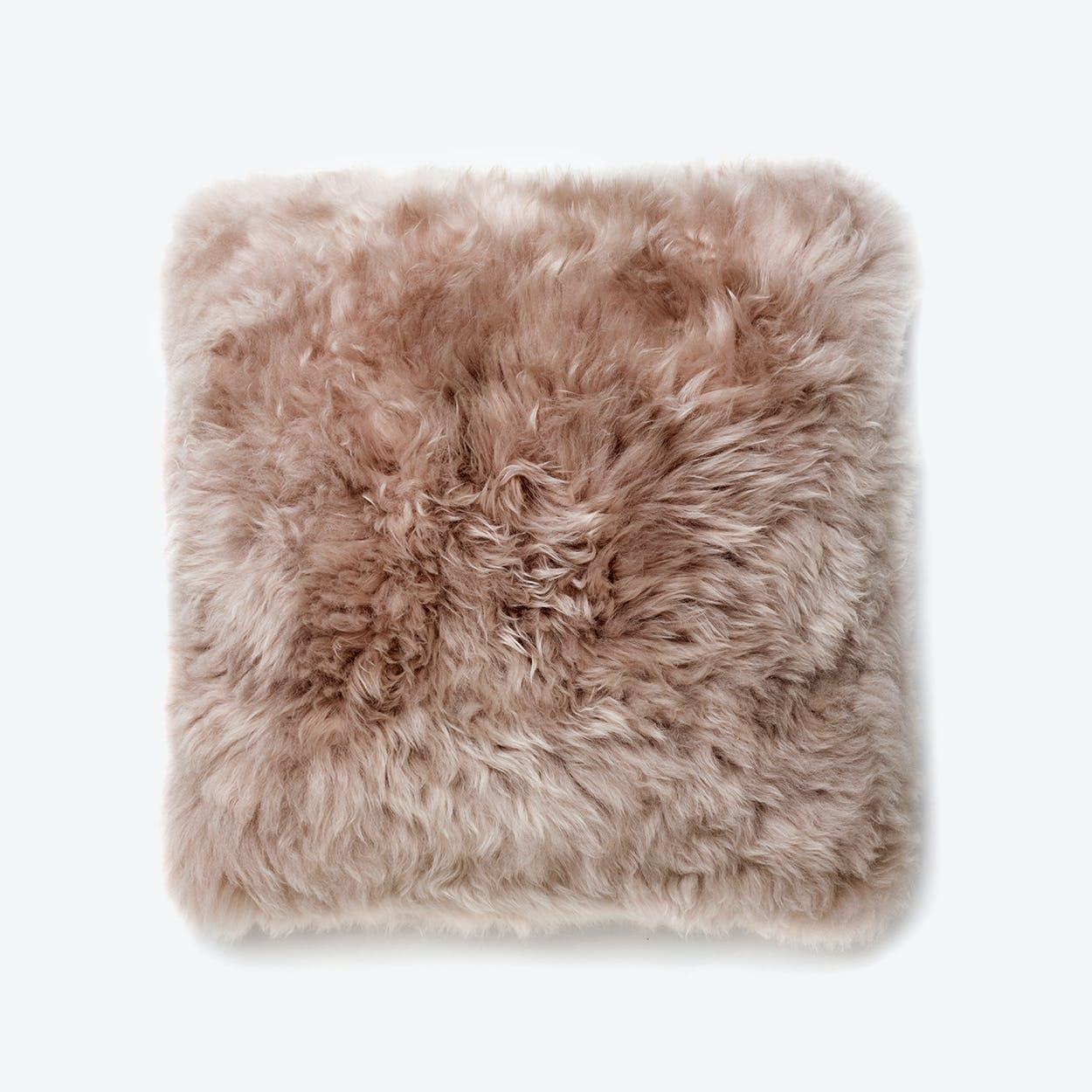 New Zealand Sheepskin Cushion in Light Brown