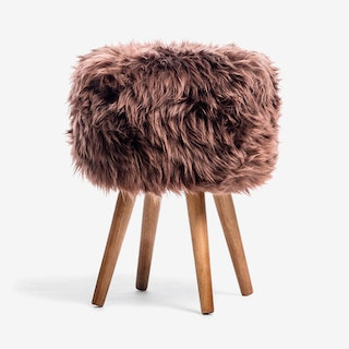New Zealand Sheepskin Stool Brown