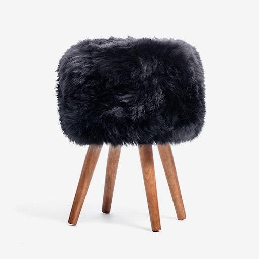 New Zealand Sheepskin Stool Black