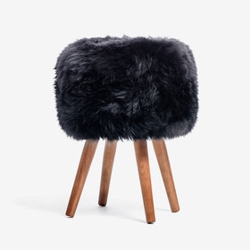 New Zealand Sheepskin Stool Black