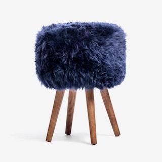 New Zealand Sheepskin Stool Blue Print