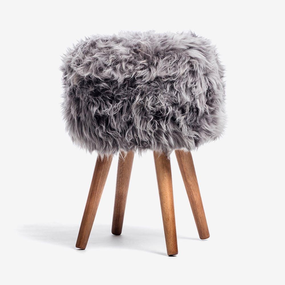 New Zealand Sheepskin Stool Grey