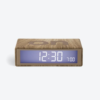 LCD Alarm Clock - Flip Clock Light Wood Rubber