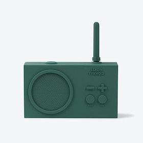 Tykho Radio Rechargeable in Dark Green Rubber Case
