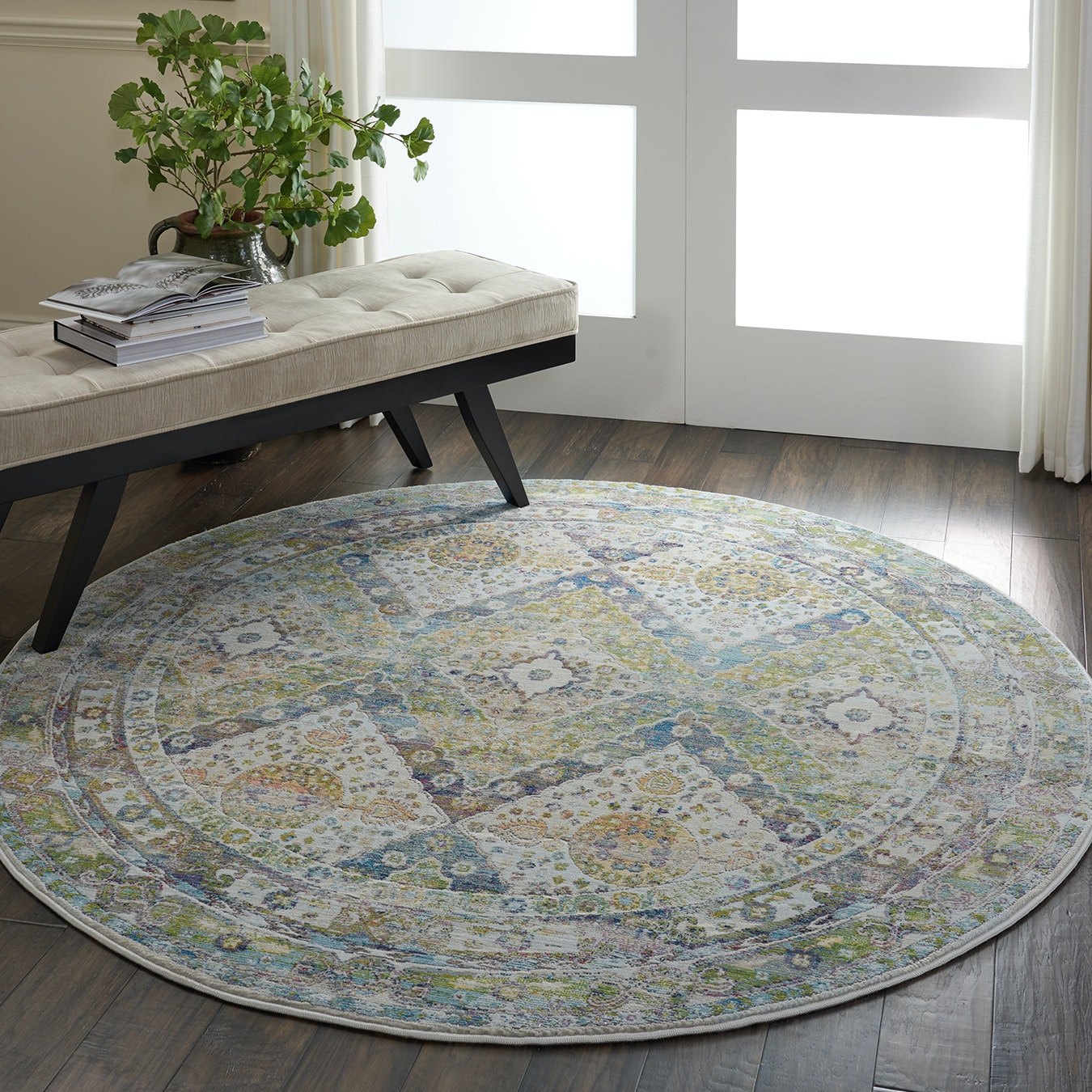 Ankara Global Blue Green Round Rug By