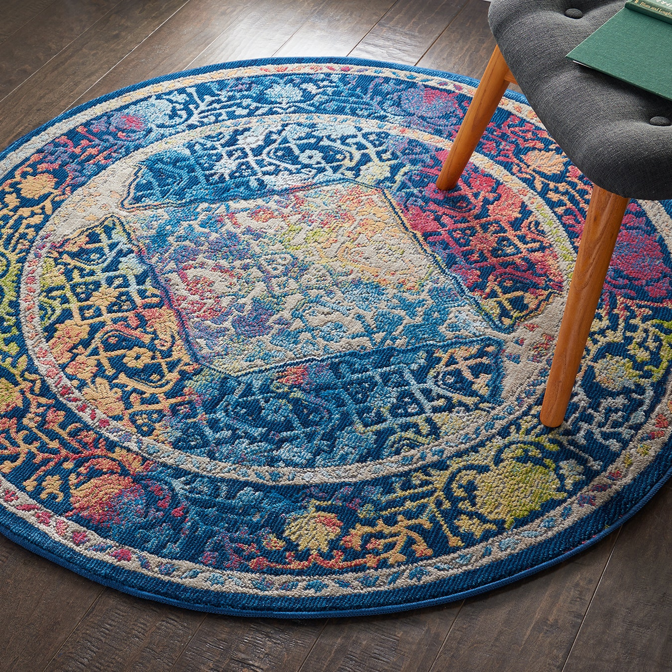 Ankara Global Blue Multi Round Rug By