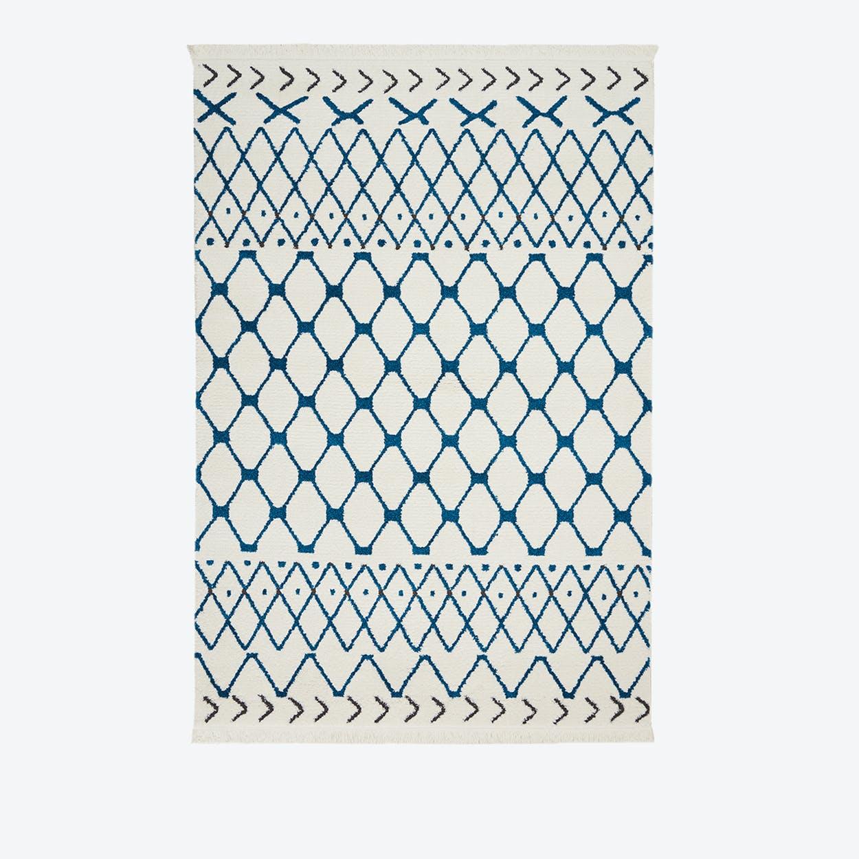 KAMALA Rug in White & Blue
