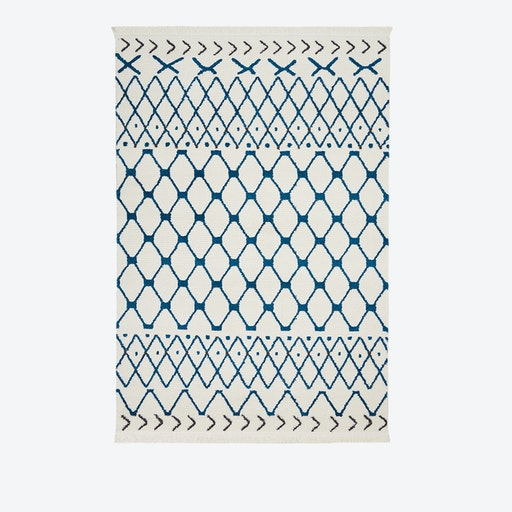 KAMALA Rug in White & Blue