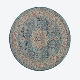 Vintage Kashan Blue Round Rug
