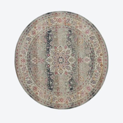 Vintage Kashan Grey Round Rug