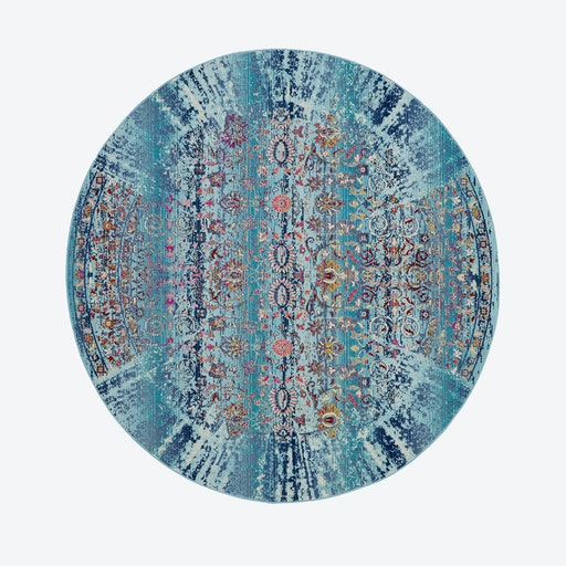 Vintage Kashan Round Rug - Blue