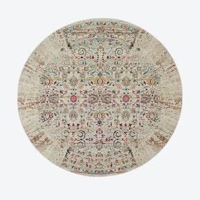 Vintage Kashan Ivory Round Rug