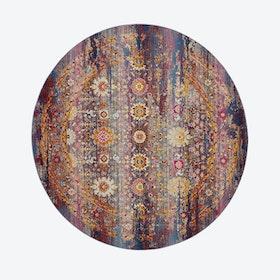 Vintage Kashan Red/Multi Round Rug