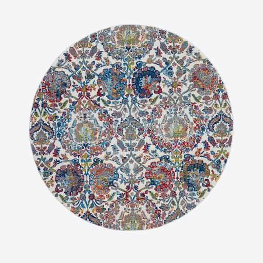 Ankara Global Ivory/Blue Round Rug