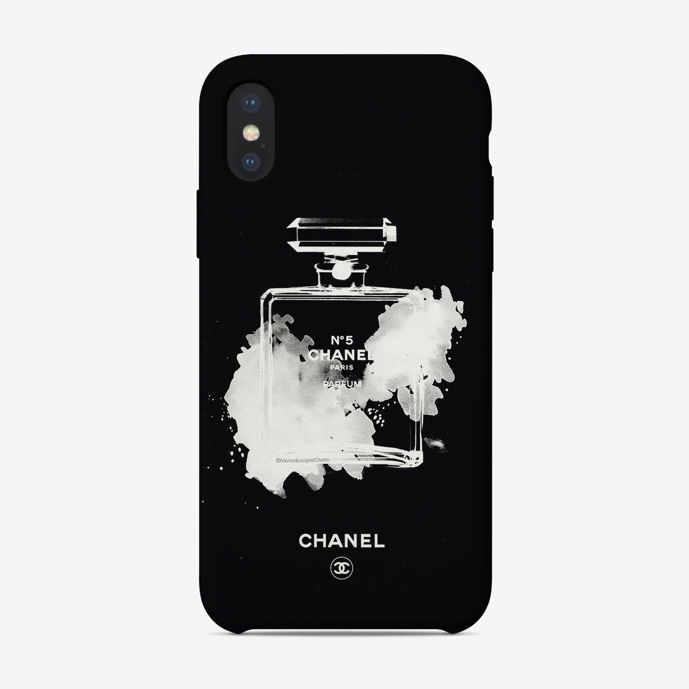 Chanel White on Black iPhone Case