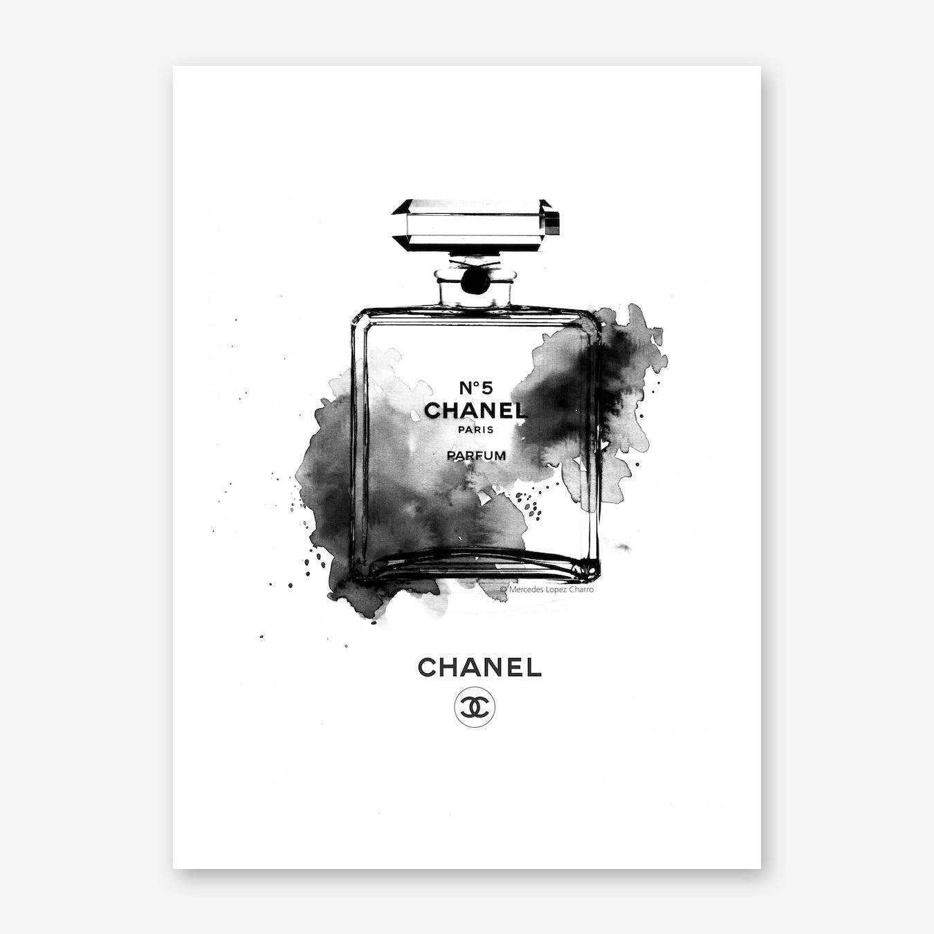 Chanel Bottle Black and White