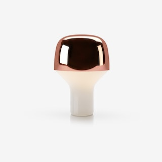 Cap Table Light in Mouth Blown Glass and Steel Copper