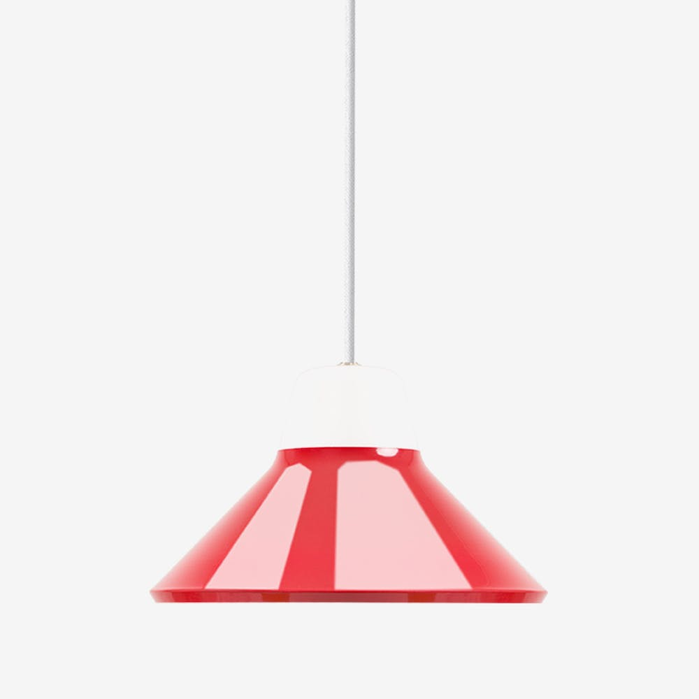 Icon Pendant Light in Mouth Blown Glass and Steel Red