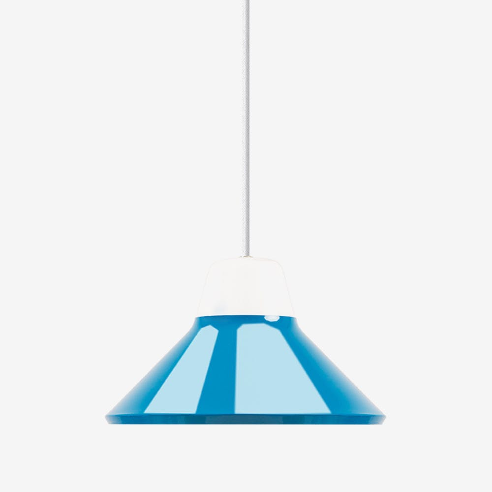 Icon Pendant Light in Mouth Blown Glass and Steel Blue