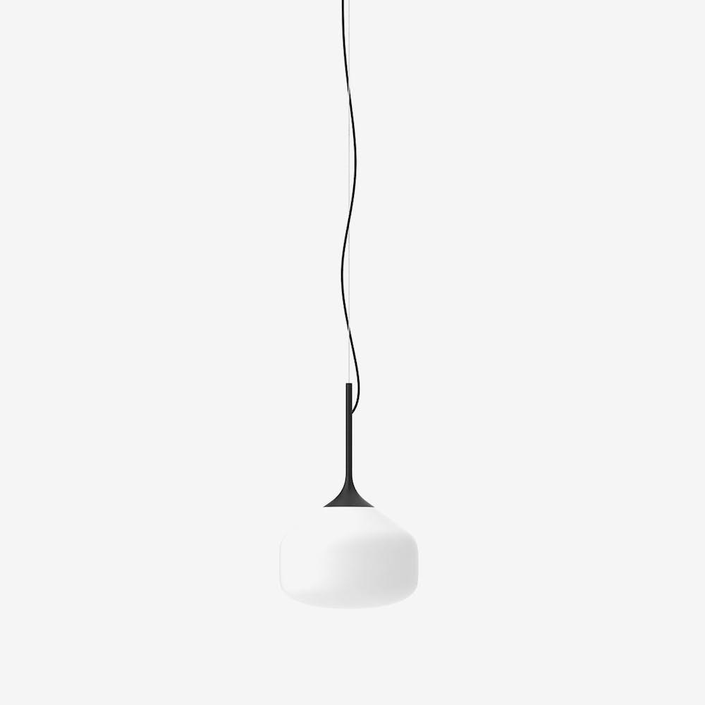 Awa L Pendant Light in Glass Black Semi-Matte