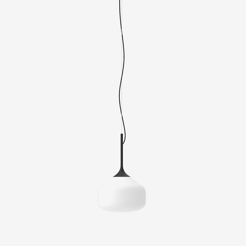 Awa L Pendant Light in Glass Black Semi-Matte