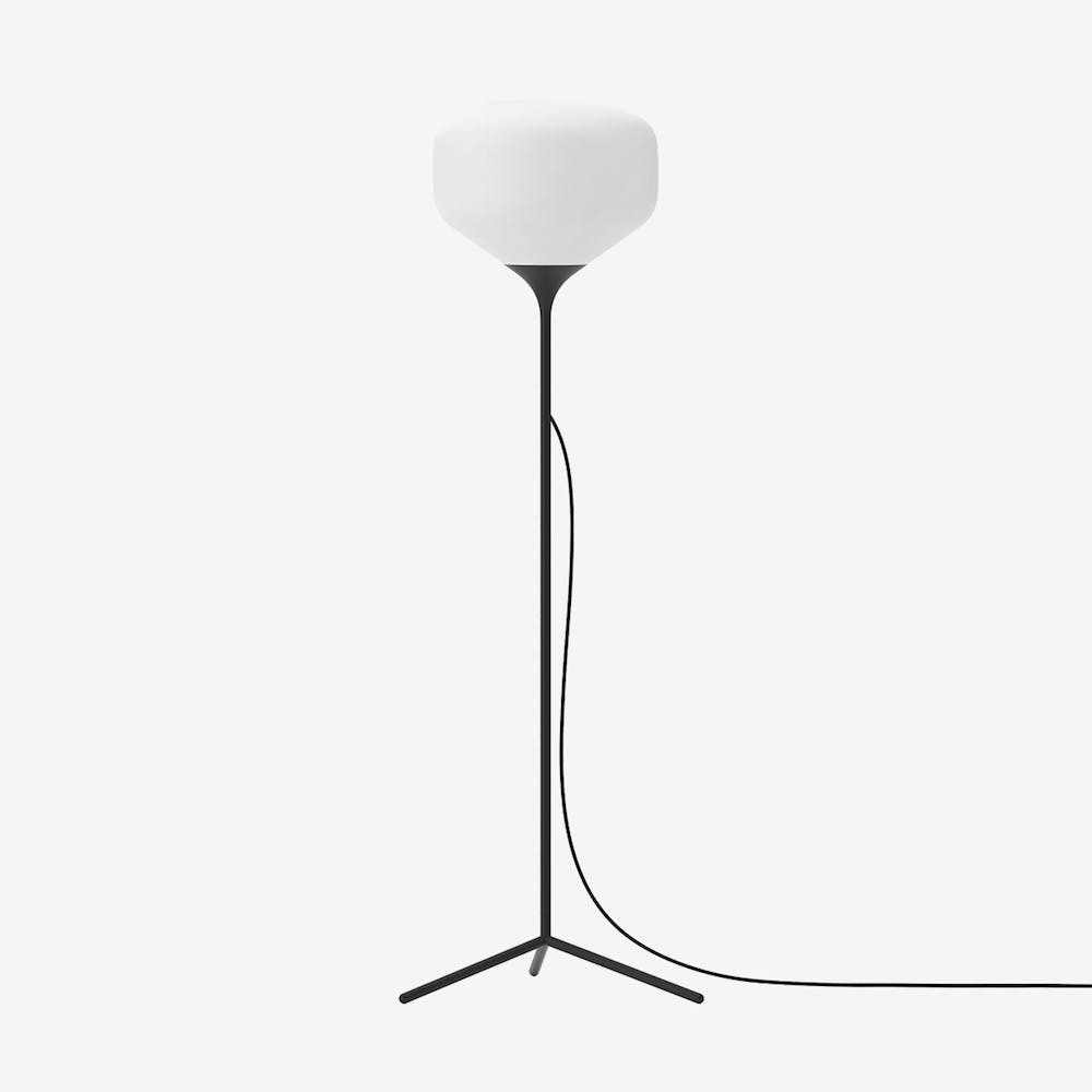 Awa L Floor Lamp in Glass Black Semi-Matte