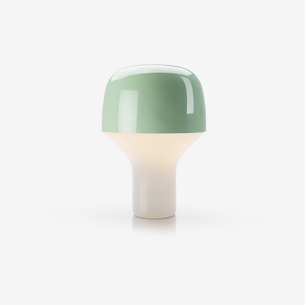 Cap Table Lamp Mouth Blown Glass and Steel in Green