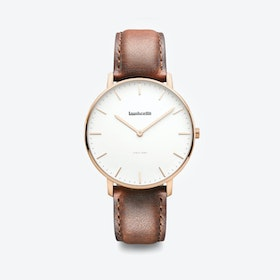Classico in Rose Gold with White Face & Brown Strap, 40mm