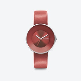 Cielo in All Red with Leather Strap, 34mm
