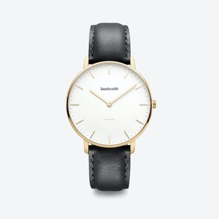 Classico in Gold with White Face & Black Leather Strap, 40mm
