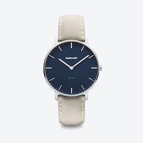 Classico in Silver with Blue Face & Grey Suede Strap, 40mm