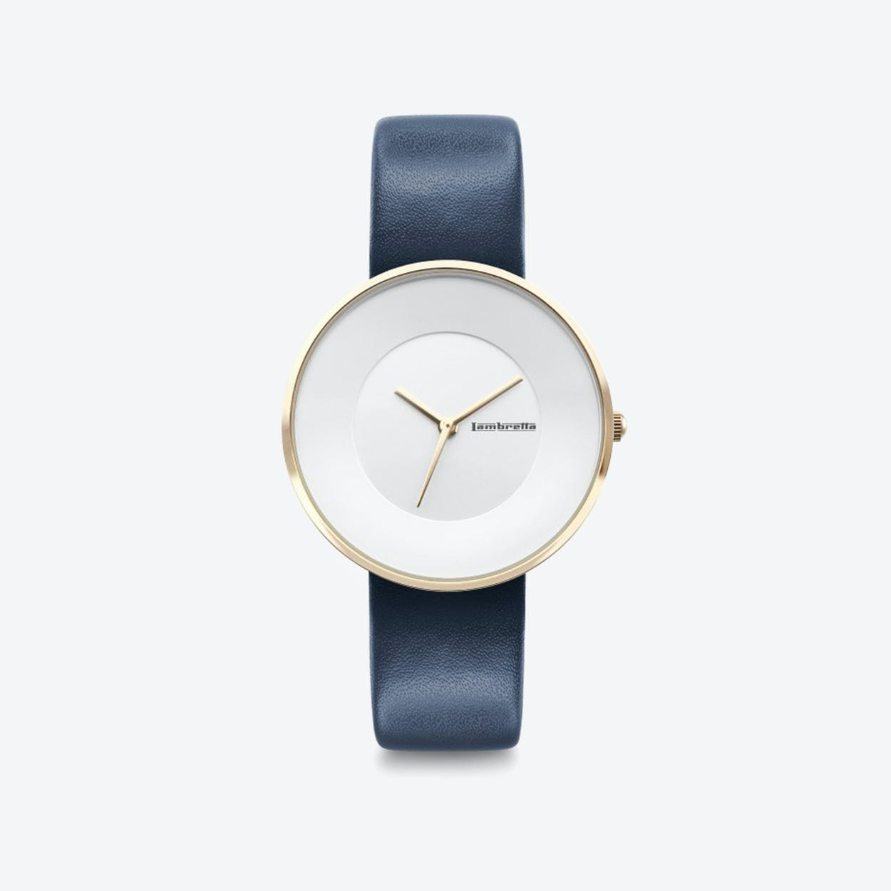 Cielo in Gold with White Face & Navy Leather Strap, 34mm