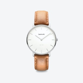 Classico in Silver with White Face & Tan Leather Strap, 36mm