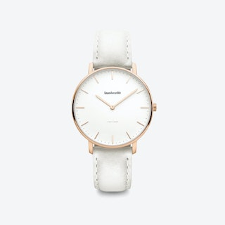 Classico in Rose Gold with White Face and Grey Leather Strap, 36mm