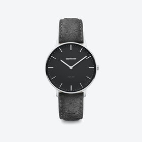 Classico in Silver with Black Face & Black Distressed Leather Strap, 36mm