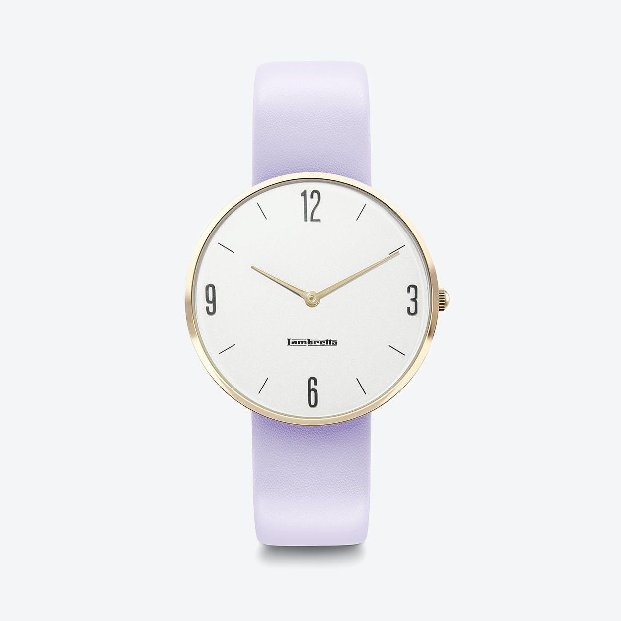 Numero 34 Watch in Gold w/ Purple Leather Strap & White Face