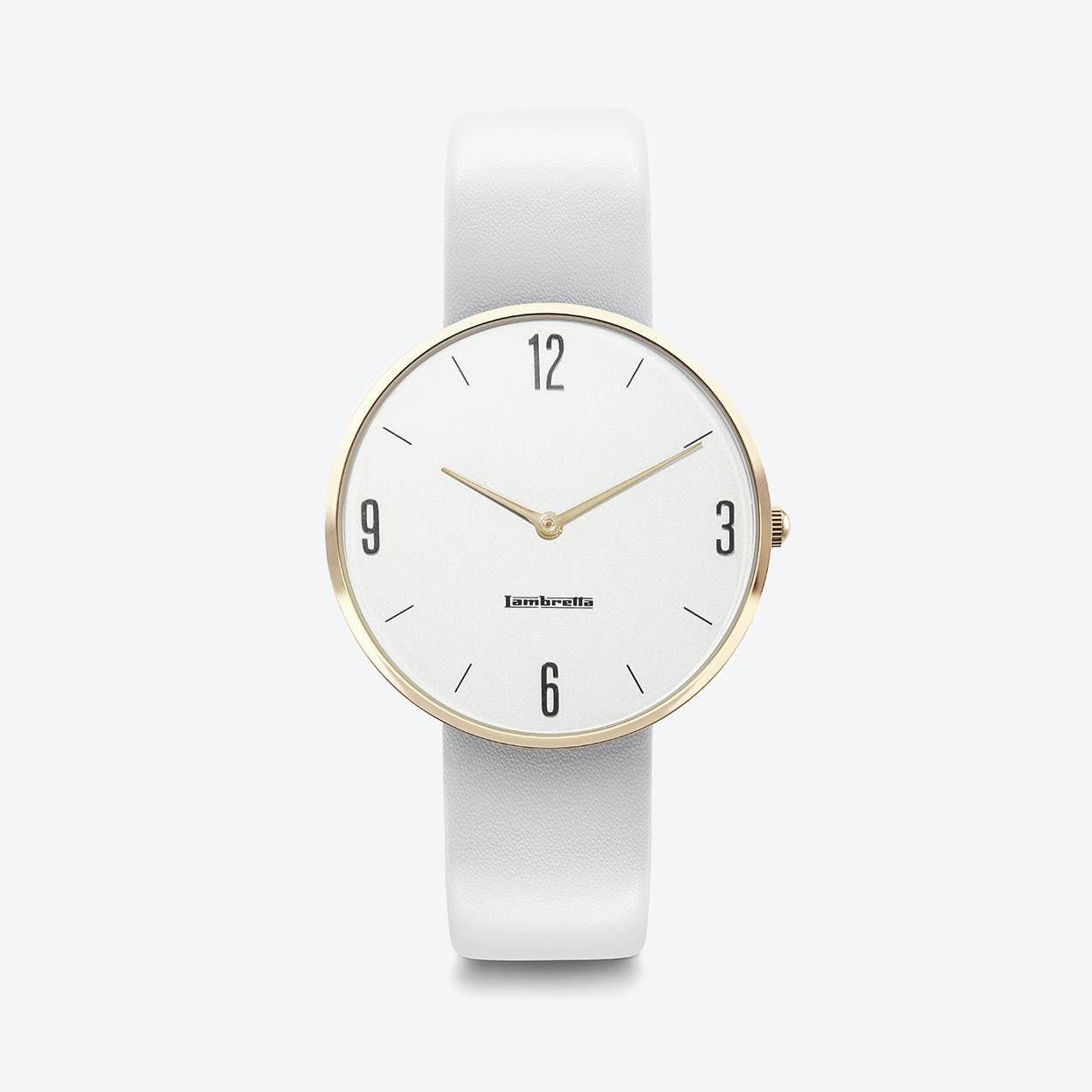Numero 34 Watch in Gold with Grey Leather Strap & White Face