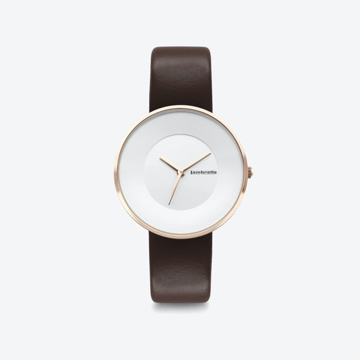 Cielo in Rose Gold with White Face & Moro Leather Strap, 34mm