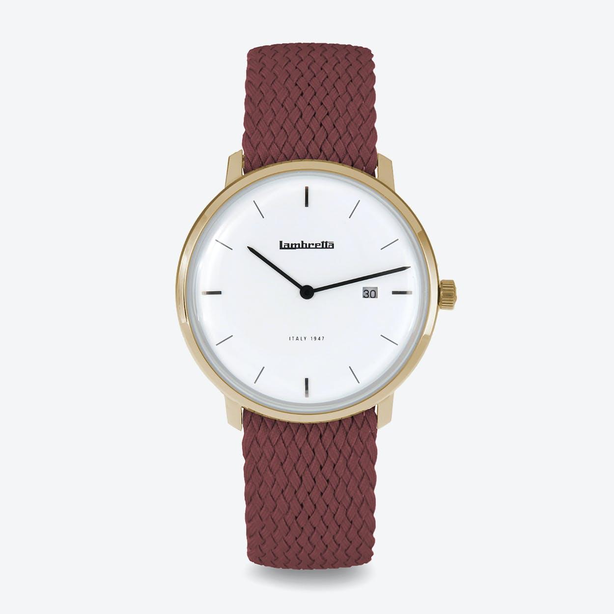 Volta 39 Watch in Gold w/ Red Perlon Strap & White Face