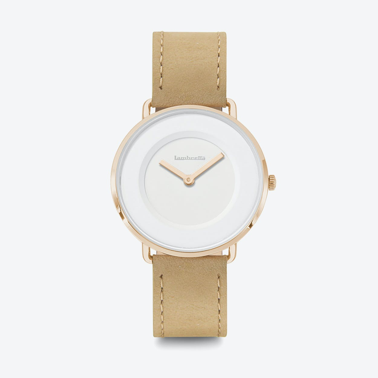 Mia 34 Watch in Rose Gold w/ Beige Leather Strap & White Face