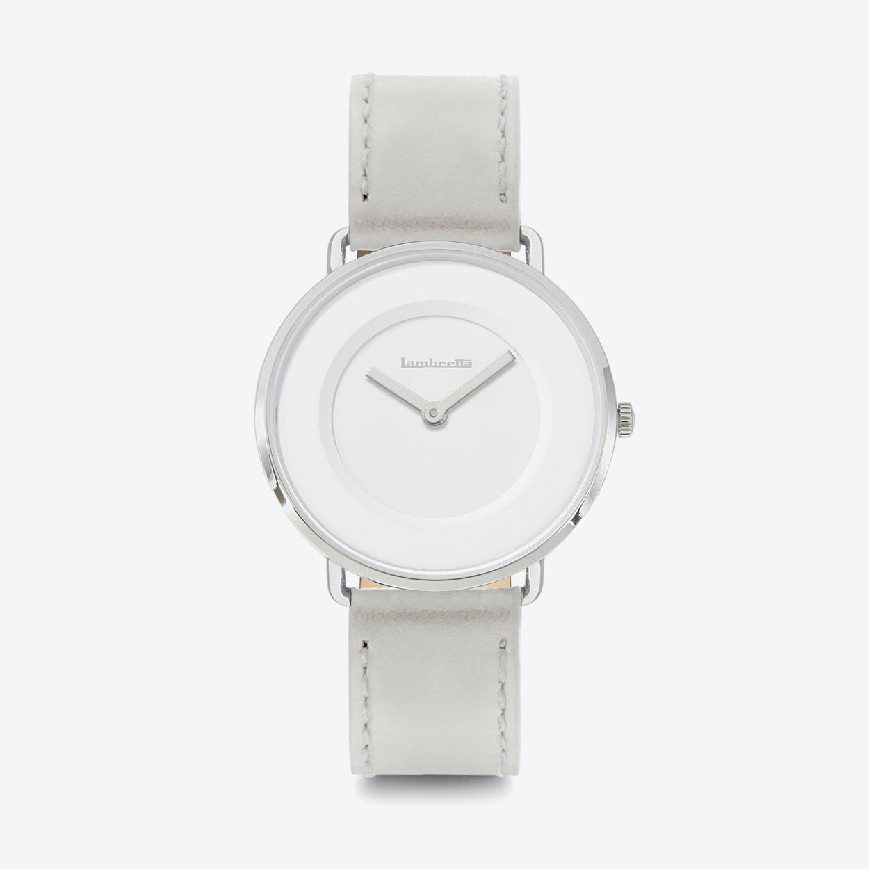 Mia 34 Watch in Silver w/ Grey Leather Strap & White Face