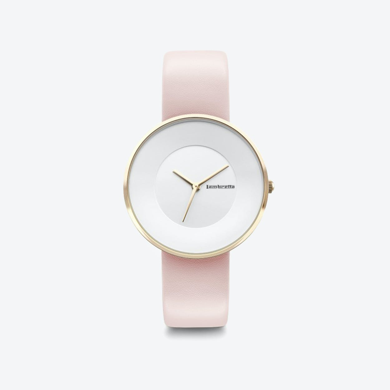 Cielo in Gold with White Face & Pink Leather Strap, 34mm
