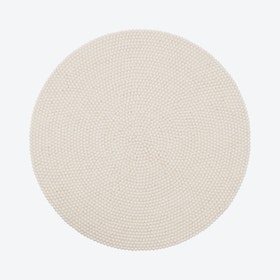 Round Linea Felt Ball Rug in Natural White