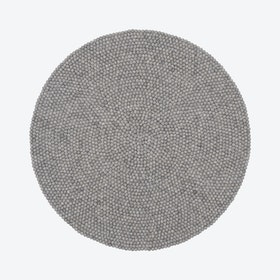 Round Carl Felt Ball Rug in Grey