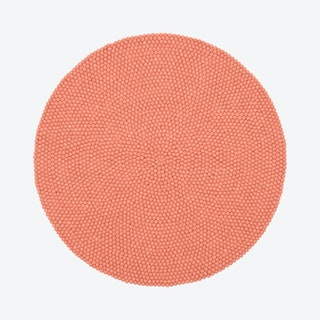 Round Lea Felt Ball Rug in Salmon Pink