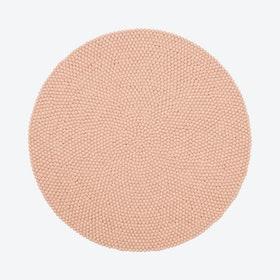 Round Merle Felt Ball Rug in Rose