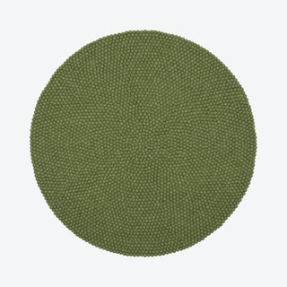 Round Kaspar Felt Ball Rug in Green