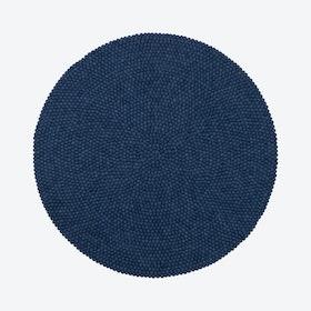 Round Alva Felt Ball Rug in Dark Blue