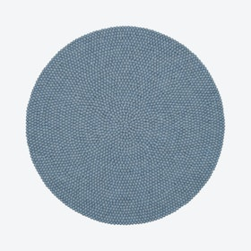 Round Mia Felt Ball Rug in Light Blue